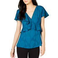 MICHAEL KORS NEW Women's Petite Ruffled V-neck Blouse Shirt Top TEDO