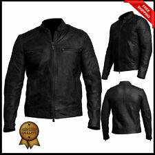 Men's Biker Vintage Motorcycle Distressed Black Cafe Racer Leather Jacket