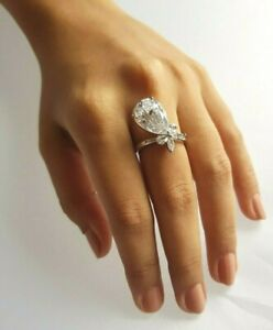925 Sterling Silver Pear & Marquise Diamond Ring for Women Cocktail Party Jewel
