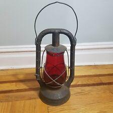 Antique Dietz Monarch Kerosene Lantern with Red Fitzall Globe