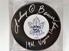 JOHNNY BOWER Toronto Maple Leafs AUTOGRAPHED Signed NHL Hockey Puck COA vezina
