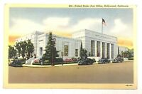 United States Post Office Hollywood California CA Street View Vintage Postcard