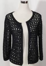 Susina Black Cotton Crochet Open Cardigan Sweater Ladies Small