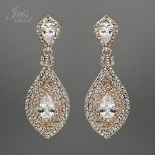 ROSE GOLD Plated Clear Crystal Rhinestone CZ Bridal Drop Chandelier Earrings 967