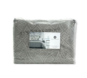 Hotel Collection Connection Charcoal Grey Cotton FULL / QUEEN Duvet Cover