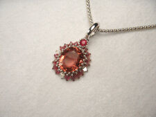 Magnificent Estate 18K White Gold Pink Tourmaline Ruby Diamond Pendant Necklace
