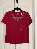 New Womens Coral Bay Red Embellished Short Sleeve Shirt Top Size Small S  Bealls