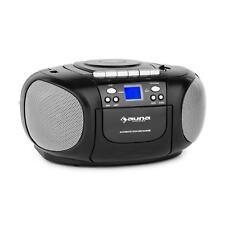 (RICONDIZIONATO) Ghettoblaster Stereo Portatile Cassette Lettore Cd NERO NERO