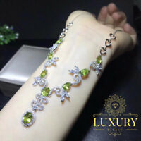 Natural Peridot Gemstone Genuine 925 Sterling Silver Luxury Cocktail Necklace