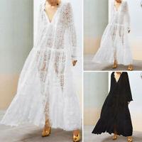 VONDA Women See Through Long Maxi Dress Hollow Baggy Loose Shirt Dress Plus Size
