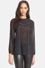 Alice and Olivia Dayna Lace Inset Blouse Black Size S $398