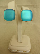 VINTAGE GIVENCHY HAUTE COUTURE SQUARE DOMED SATIN GLASS BUTTON CLIP EARRINGS