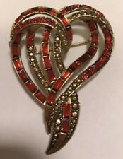 Vintage Estate Signed Weiss Double Heart Brooch Pin