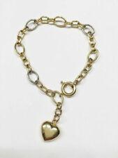 "14k Yellow Gold Heart Link Bracelet 7.5"""