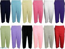 Ladies Womens 3/4 Three Quarter Length Trousers Elasticated Waist Capri Cropped