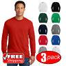 3-PACK Gildan Heavy Cotton Long Sleeve T Shirt Mens Blank Casual Plain Tee 5400