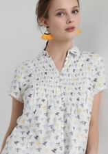 WHITE STUFF Ami Bird shirt top blouse blue yellow 100% cotton RRP £37.50 UK 8-12