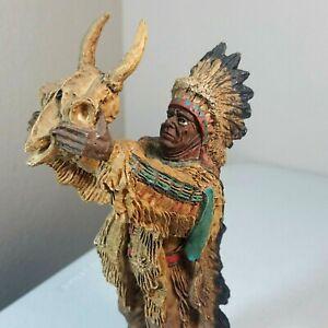 "Indian Figurine Native American Chief Headdress Resin Statue Souvenir 11"""