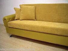 MUSTARD SOFA BED 4 SEATS 204cm RETRO STYLE JUMBO CORD STORAGE CLICK CLACK SOLID