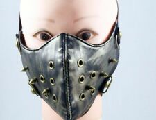 Cool Unisex Men Women Punk Face Mask Leather Bronze Rivets Holes Steampunk Devil