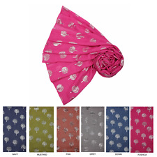 Mulberry Tree Silver Foil Print Scarf Wrap in Choice of  Colours