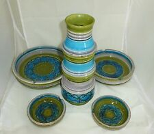 Vintage Aldo Londi Bitossi Five Piece Set 12 Inch Tall Vase And Four Ashtrays