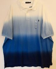 Polo Ralph Lauren Big and Tall Mens Blue Dip Dyed Polo Shirt NWT LT Large