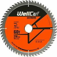 WellCut TCT Saw Blade 216mm x 60T x 30mm Bore for DWS774, C8FSR, GCM800, GCM8SJL