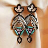 Boucles d`Oreilles ClipS Longue Pendante Vintage Noir Bleu Rose Cadeau X4