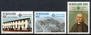 Surinam 610-612, MNH. EBG Missionaries, 250th anniv. in Caribbean, 1982