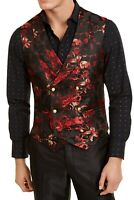 Tallia Mens Vest Red Size 42 Floral Print Double Breasted Slim Fit $125 #218