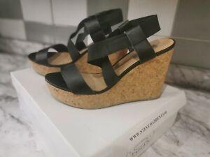 Steve Madden Black Cork & Leather Platform Wedge Heeled Sandals - Size UK 5 (38)