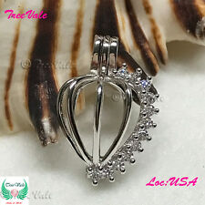 Stone Heart  Pearl Cage Pendant - 925 Sterling Silver - Fun Gift!!