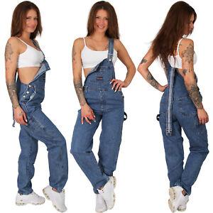 Damen Jeans Latz Hose Teenager Träger Knöpfe Nieten Baumwolle Jeanshose Blau 116