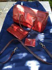 Eel Skin Top Handle Burgundy Bag w/ Strap Suede Interior & Matching Wallet lot