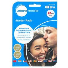 NEW AUSTRALIAN LEBARA PREPAID MOBILE SIM CARD KIT PACK STANDARD MICRO NANO SIM