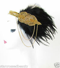 Black & Gold Feather Headpiece Vintage 1920s Headband Flapper Great Gatsby R64
