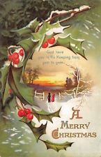 Clapsaddle Christmas~Holly Portal~Children~Snowy Gate~Sunset~God Keep You~Emboss
