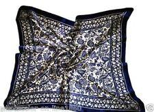 100% Large Silk Scarf Square Women's Bandana Neck Shawl Wraps Blue Edging