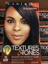 Clairol Textures & Tones 1B Silken Black  PERMANENT HAIR COLOR DYE KIT
