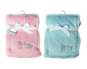 Baby Girl Boy Soft Fleece Blanket Throw Prince Princess Pink Blue 75x100cm