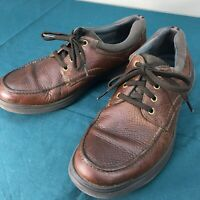 Used Clarks Ortholite Brown Leather Soft Cushion Mens Loafers Lace Up sz 12