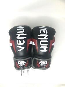 Venum Elite Boxing Gloves Hand Made In Thailand Black/Red/White 14 oz
