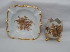 Vtg Handpainted Porcelain Footed Egg Vase & Ashtray Artist Signed Gold Trim