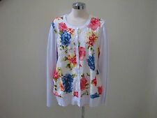 NWT's Charter Club beautiful white floral lace button down sweater   1X