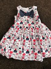 Girls Party Dress Age 4-5years White Blue Red Bow Shopping