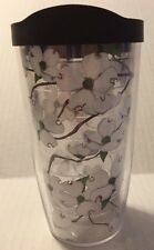 "Tervis Tumbler White Flowering Tree Brown Lid 6"" Tall"