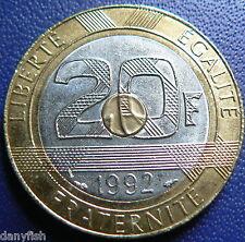 20 francs Mont Saint-Michel, 5 cannelures, V ouvert 1992