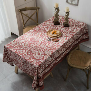 Retro Floral Printed Tablecloth Rectangle Table Cloth Cover Kitchen Home Decor