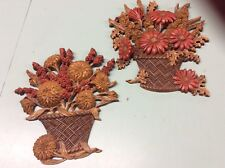 Vintage wall plaques lot set 2 plastic Burwood rust gold brown flower baskets